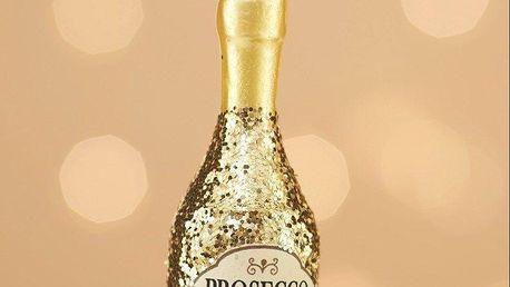 sass & belle Skleněná závěsná ozdoba Prosecco, zlatá barva, sklo