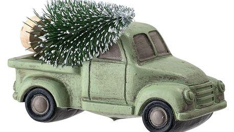 Bloomingville Vánoční autíčko se stromečkem Green, zelená barva, plast, pryskyřice