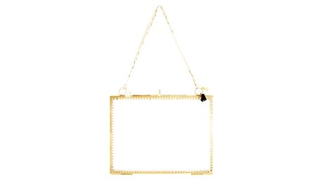 MADAM STOLTZ Skleněný fotorámeček Orient Gold - vodorovný, zlatá barva, čirá barva, sklo, kov