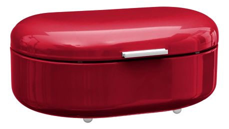 Emako Box na pečivo RETRO, kovový chlebník, kontejner na chleba, chlebovka - barva červená, 40 x 25 x 17 cm