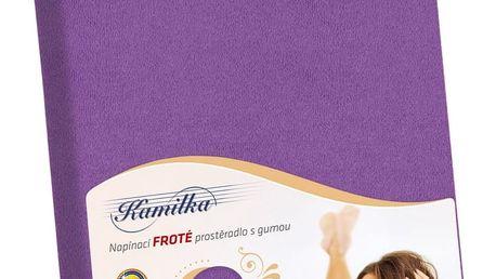 Bellatex Froté prostěradlo Kamilka tmavě fialová, 200 x 220 cm