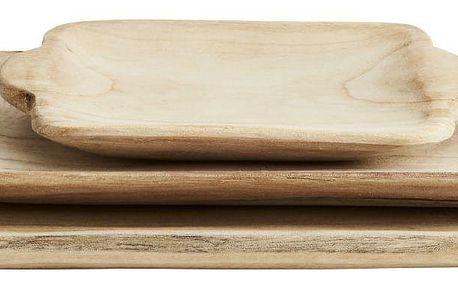 MADAM STOLTZ Dřevěný tác Paulownia - set 3ks, přírodní barva, dřevo