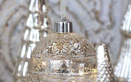 Chic Antique Vánoční baňka s LED drátkem Silver Vintage, stříbrná barva, sklo
