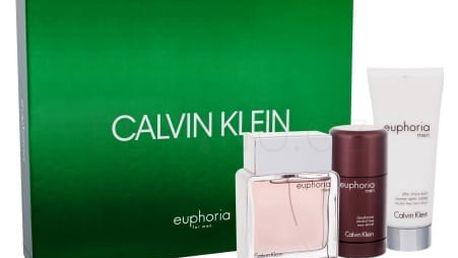 Calvin Klein Euphoria Men dárková kazeta pro muže toaletní voda 100 ml + balzám po holení 100 ml + deostick 75 ml