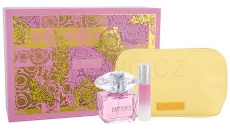 Versace Bright Crystal dárková kazeta pro ženy toaletní voda 90 ml + toaletní voda 10 ml + kosmetická taška