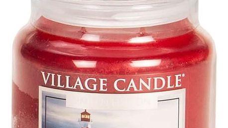 VILLAGE CANDLE Svíčka ve skle Coastal Christmas - střední, červená barva, sklo, vosk