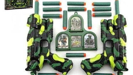 Teddies 59508 Sada pistole 2ks + pěnové náboje 16ks plast v krabici 50x25x5cm