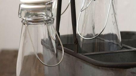 IB LAURSEN Skleněná lahev s keramickým víčkem White 800 ml, čirá barva, sklo