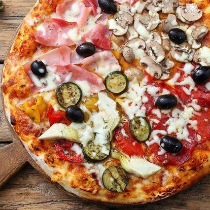 Jumbo pizza s ⌀ 50 cm složená ze 4 druhů