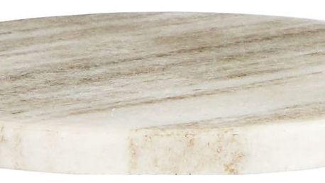 MADAM STOLTZ Kulatý mramorový tácek Light beige, béžová barva, šedá barva, mramor