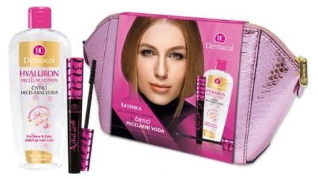 Dermacol Artist Lash dárková kazeta pro ženy řasenka 10 ml + čisticí micelární voda 400 ml + kosmetická taštička Black