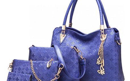 SET: Dámská námořnicky modrá kabelka Claire 6714