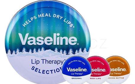 Vaseline Lip Therapy Selection dárková kazeta pro ženy balzám na rty 20 g + balzám na rty 20 g Rosy Lips + balzám na rty 20 g Original + plechová dóza Cocoa Butter