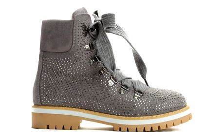 Dámské tmavě šedé kotníkové boty Cariba 9094