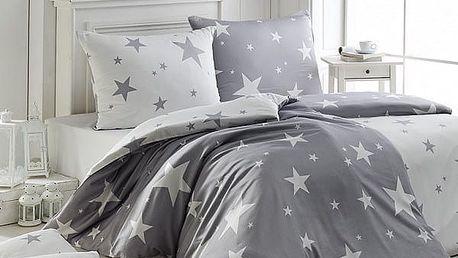 Matějovský Flanelové povlečení New Star Grey, 140 x 220 cm, 70 x 90 cm