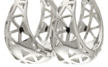 Náušnice rhodiované oválné kroužky trojuholniky