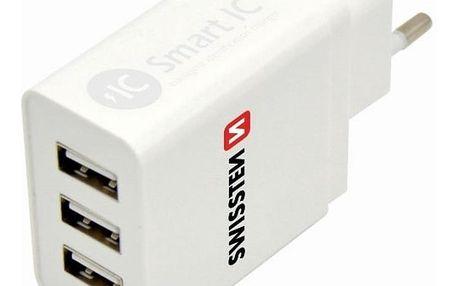 Swissten 3x USB 3,1A bílá