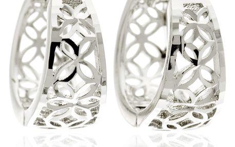 Náušnice rhodiované oválné kroužky ornament