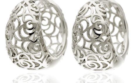 Náušnice rhodiované oválné kroužky růže