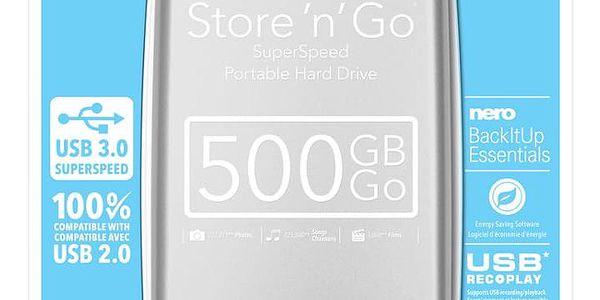 """Externí pevný disk 2,5"""" Verbatim Store 'n' Go 500GB stříbrný (53021)5"""