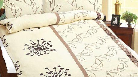 Bellatex Povlečení bavlna 90/364 Hnědé chmýří, 140 x 200 cm, 70 x 90 cm