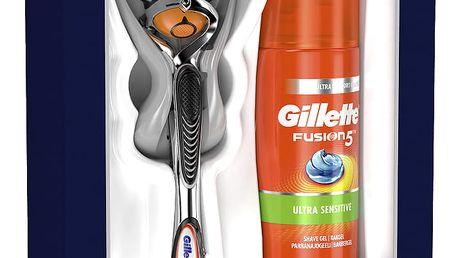 GILLETTE Fusion5 ProGlide Holicí strojek + Ultra Sensitive Gel 75ml - dárková sada