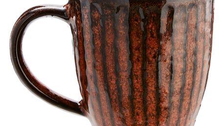 MADAM STOLTZ Oranžový kameninový hrnek Stoneware, oranžová barva, černá barva, kámen