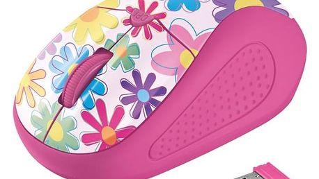Trust Primo Wireless - pink flowers / optická / 4 tlačítka / 1600dpi (21481)