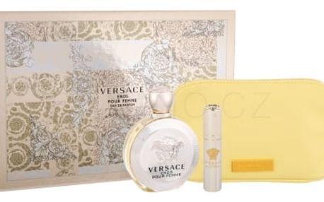 Versace Eros Pour Femme dárková kazeta pro ženy parfémovaná voda 100 ml + parfémovaná voda 10 ml + kosmetická taška