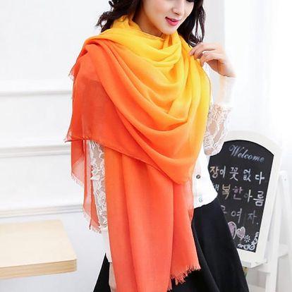 Dámský šátek s barevným přechodem - 9 variant