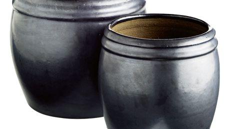 Tine K Home Keramický květník Vietnam Phantom - 2 druhy Menší, šedá barva, černá barva, keramika