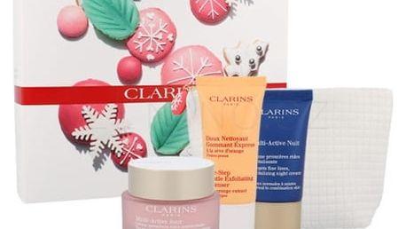 Clarins Multi-Active dárková kazeta proti vráskám pro ženy denní pleťová péče 50 ml + noční pleťová péče 15 ml + peeling One Step Gentle Exfoliating Cleanser 30 ml + kosmetická taška