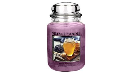 VILLAGE CANDLE Svíčka ve skle Honey Patchouli - velká, fialová barva, sklo, vosk