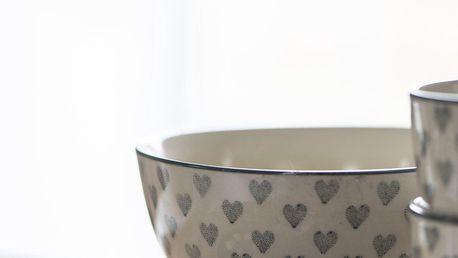 IB LAURSEN Keramická miska Grey Heart, šedá barva, krémová barva, keramika