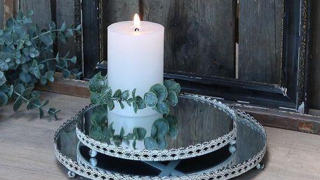 Chic Antique Zrcadlový tác Vintage Lace Edge Menší, bílá barva, sklo, kov