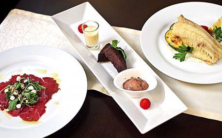3chodové menu s treskou nebo steakem z bizona