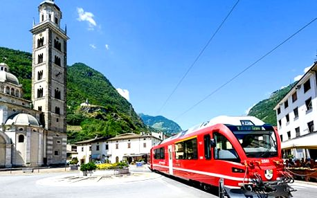 3denní zájezd pro jednoho do Švýcarska s jízdou v panoramatickém vlaku. Město Tirano, St. Moritz.