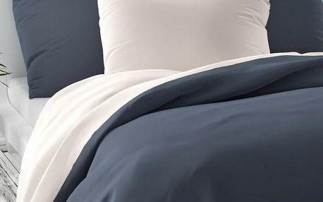 Kvalitex Saténové povlečení Luxury Collection bílá/tmavě šedá, 140 x 220 cm, 70 x 90 cm
