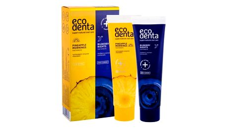 Ecodenta Toothpaste Pineapple Mornings dárková kazeta unisex zubní pasta Pineapple Mornings 100 ml + zubní pasta Bilberry Nights 100 ml