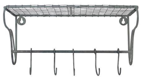 Krasilnikoff Drátěná polička s háčky 30cm, šedá barva, kov, zinek