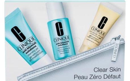 Clinique Anti-Blemish Solutions dárková kazeta pro ženy čisticí gel 30 ml + pleťová voda 30 ml + denní pleťová péče Dramatically Different Moisturizing Gel 15 ml + kosmetická taštička