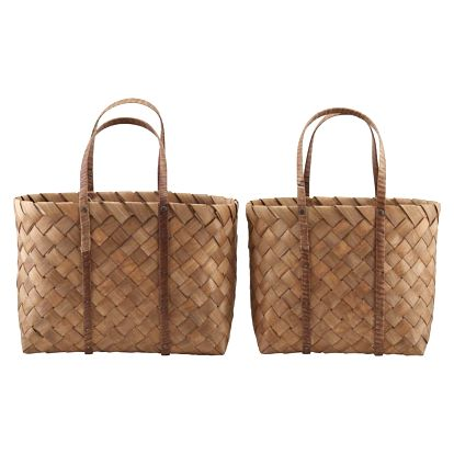 House Doctor Plážová taška Beach Bag Menší, hnědá barva, přírodní barva, dřevo