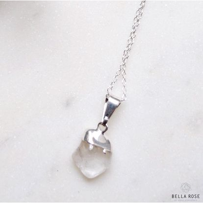 DECADORN Řetízek s přívěskem Tumbled Clear Quartz/Silver, stříbrná barva, čirá barva, kov, kámen