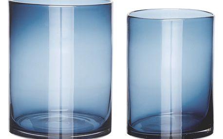 Hübsch Skleněná váza Simple Blue Větší, modrá barva, sklo