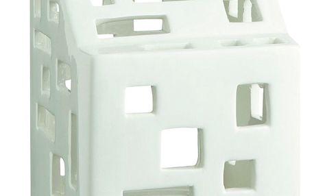 KÄHLER Lucerna domeček Urbania Light House 9,5 cm, bílá barva, keramika