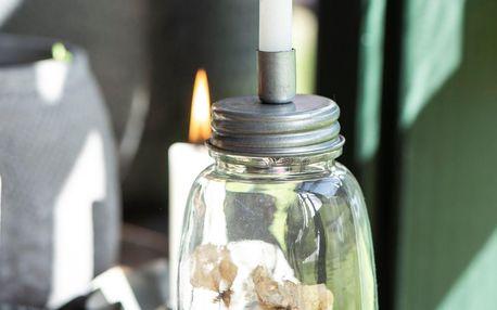 IB LAURSEN Dóza se svícnem Bottle Zinc, šedá barva, čirá barva, sklo, kov