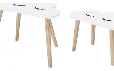 Bloomingville Dřevěný stolek Cloud Větší, bílá barva, hnědá barva, dřevo