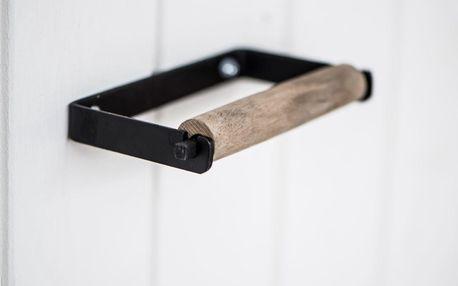 IB LAURSEN Držák na toaletní papír Altum Black, černá barva, hnědá barva, dřevo, kov