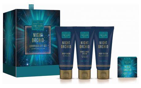 SCOTTISH FINE SOAPS Dárkový set kosmetiky Night Orchid, modrá barva, plast, papír