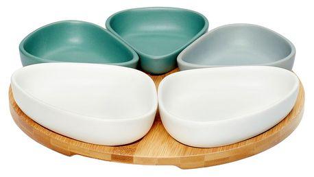Hübsch Servírovací sada misek na bambusovém tácku, multi barva, dřevo, keramika